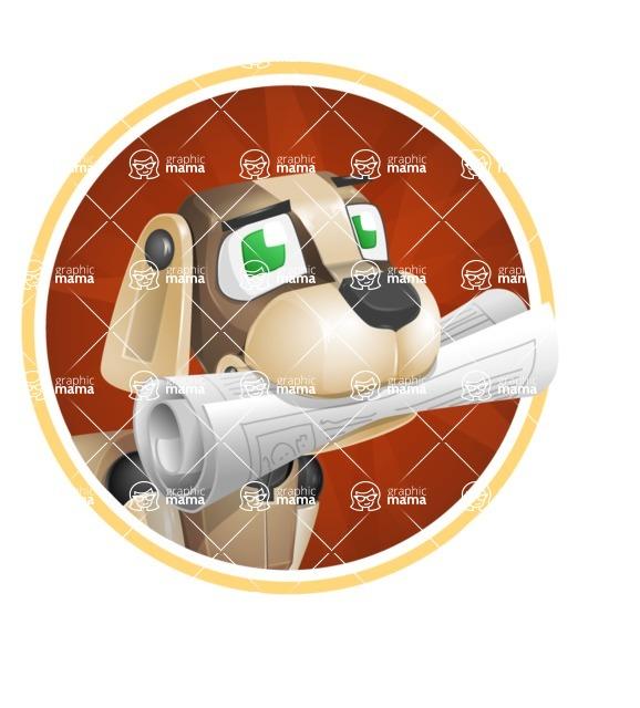 Futuristic Robot Dog Cartoon Vector Character AKA Barkey McRobot - Shape2