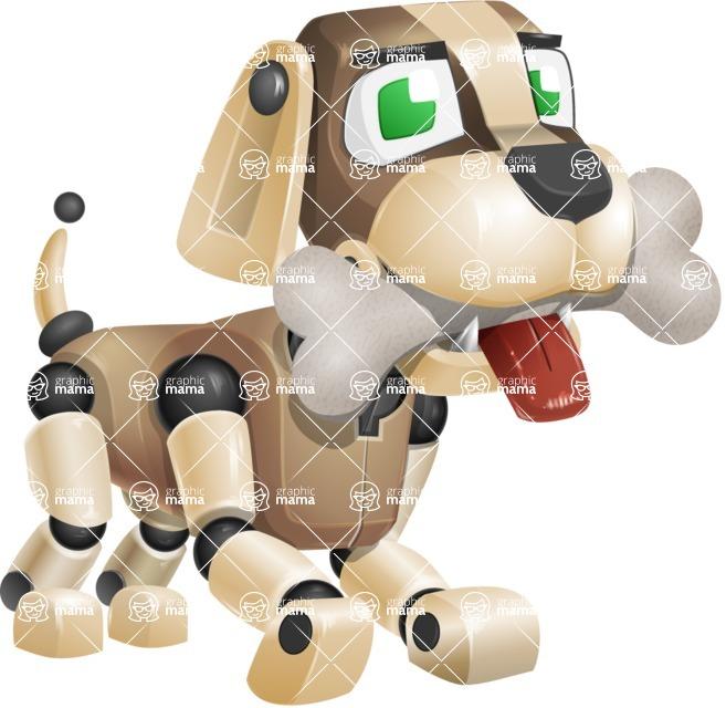 Futuristic Robot Dog Cartoon Vector Character AKA Barkey McRobot - Bone 1