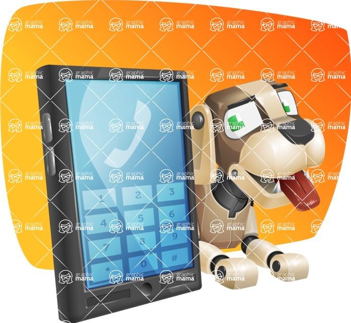 Futuristic Robot Dog Cartoon Vector Character AKA Barkey McRobot - Shape5