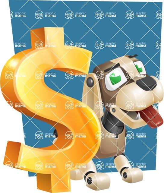 Futuristic Robot Dog Cartoon Vector Character AKA Barkey McRobot - Shape6