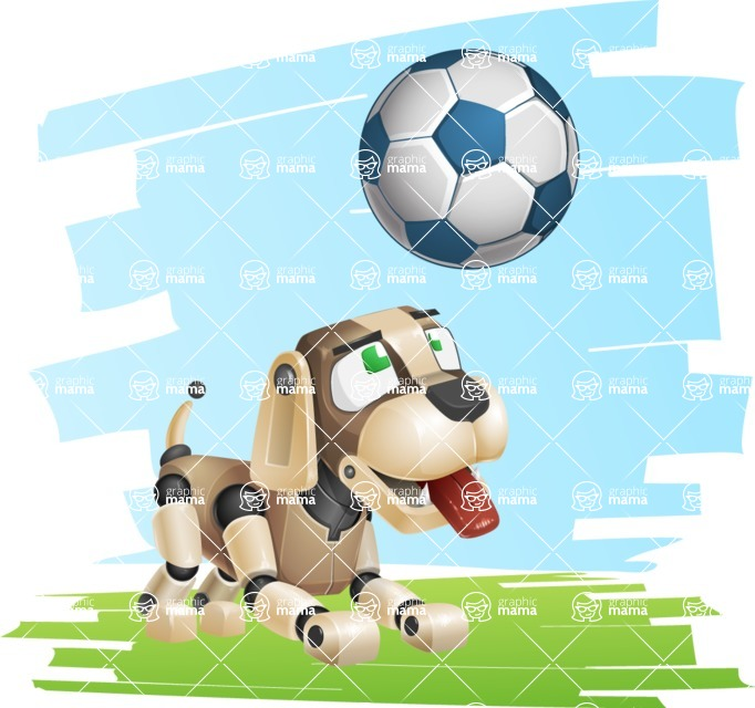 Futuristic Robot Dog Cartoon Vector Character AKA Barkey McRobot - Shape7