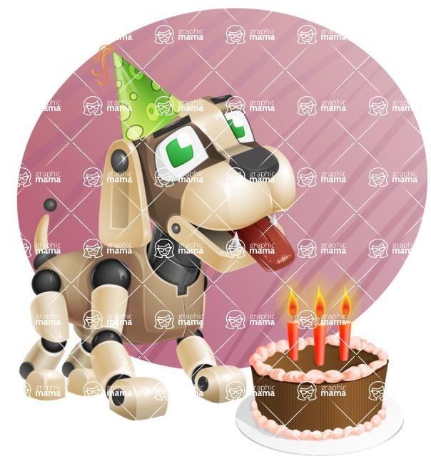 Futuristic Robot Dog Cartoon Vector Character AKA Barkey McRobot - Shape9