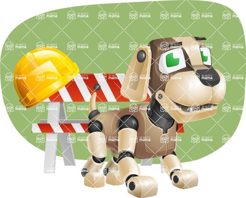 Futuristic Robot Dog Cartoon Vector Character AKA Barkey McRobot - Shape11