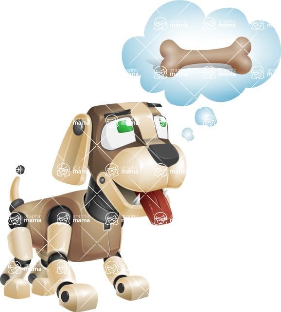Futuristic Robot Dog Cartoon Vector Character AKA Barkey McRobot - Bone 2