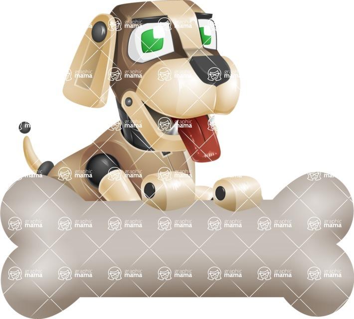 Futuristic Robot Dog Cartoon Vector Character AKA Barkey McRobot - Bone 3