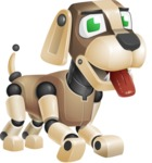 Futuristic Robot Dog Cartoon Vector Character AKA Barkey McRobot - Normal