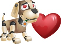 Futuristic Robot Dog Cartoon Vector Character AKA Barkey McRobot - Lover