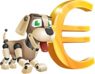 Futuristic Robot Dog Cartoon Vector Character AKA Barkey McRobot - Euro