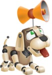 Futuristic Robot Dog Cartoon Vector Character AKA Barkey McRobot - Loudspeaker