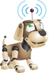 Futuristic Robot Dog Cartoon Vector Character AKA Barkey McRobot - Wi-Fi