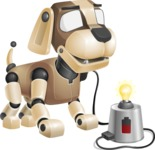 Futuristic Robot Dog Cartoon Vector Character AKA Barkey McRobot - Charging