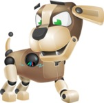 Futuristic Robot Dog Cartoon Vector Character AKA Barkey McRobot - Under Construction