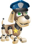 Futuristic Robot Dog Cartoon Vector Character AKA Barkey McRobot - Police Dog