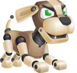 Futuristic Robot Dog Cartoon Vector Character AKA Barkey McRobot - Angry