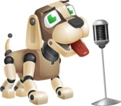 Futuristic Robot Dog Cartoon Vector Character AKA Barkey McRobot - Sing