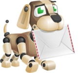 Futuristic Robot Dog Cartoon Vector Character AKA Barkey McRobot - Dog Postman