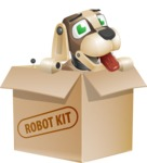 Futuristic Robot Dog Cartoon Vector Character AKA Barkey McRobot - Box