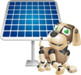 Futuristic Robot Dog Cartoon Vector Character AKA Barkey McRobot - Solar Panel