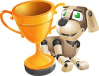 Futuristic Robot Dog Cartoon Vector Character AKA Barkey McRobot - Cup
