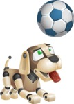 Futuristic Robot Dog Cartoon Vector Character AKA Barkey McRobot - Soccer