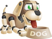 Futuristic Robot Dog Cartoon Vector Character AKA Barkey McRobot - Doggy Dish