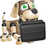 Futuristic Robot Dog Cartoon Vector Character AKA Barkey McRobot - Briefcase