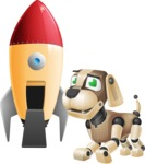 Futuristic Robot Dog Cartoon Vector Character AKA Barkey McRobot - Rocket