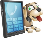 Futuristic Robot Dog Cartoon Vector Character AKA Barkey McRobot - Phone