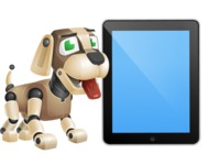 Futuristic Robot Dog Cartoon Vector Character AKA Barkey McRobot - iPad 1