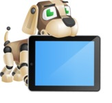 Futuristic Robot Dog Cartoon Vector Character AKA Barkey McRobot - iPad 2