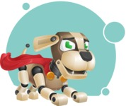 Futuristic Robot Dog Cartoon Vector Character AKA Barkey McRobot - Shape8