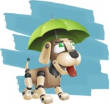 Futuristic Robot Dog Cartoon Vector Character AKA Barkey McRobot - Shape12