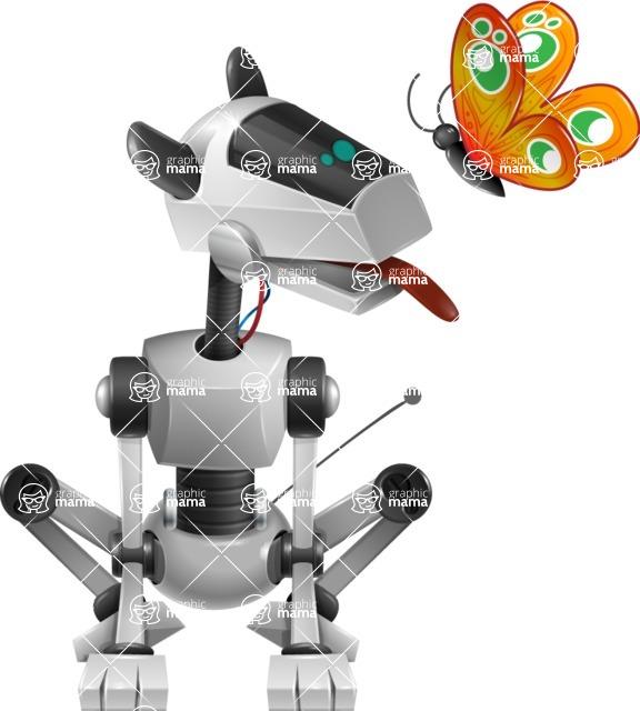 High-Tech Robot Dog Cartoon Vector Character AKA BARD - Butterfly