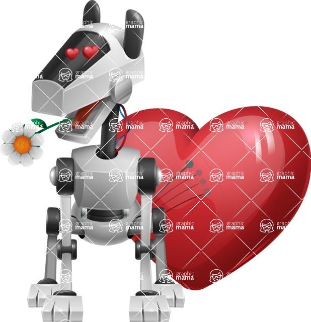 High-Tech Robot Dog Cartoon Vector Character AKA BARD - Lover
