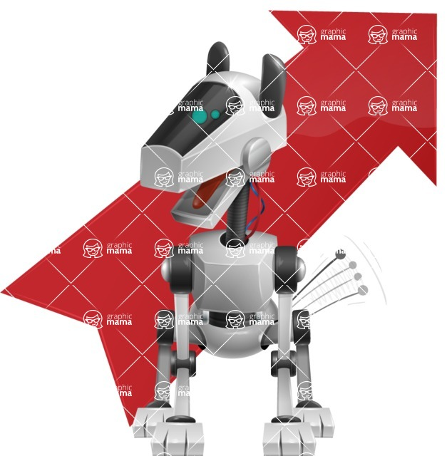 High-Tech Robot Dog Cartoon Vector Character AKA BARD - Arrow