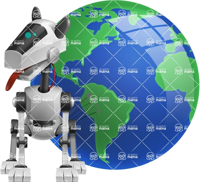 High-Tech Robot Dog Cartoon Vector Character AKA BARD - Earth