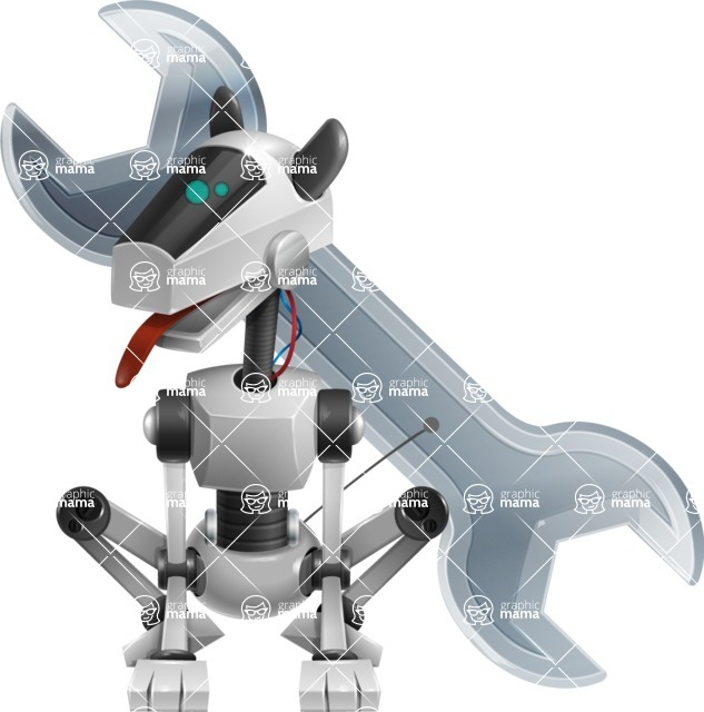 High-Tech Robot Dog Cartoon Vector Character AKA BARD - Repair