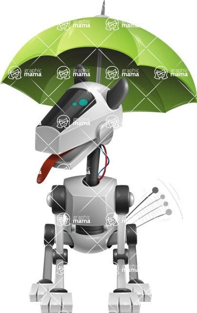 High-Tech Robot Dog Cartoon Vector Character AKA BARD - Umbrella