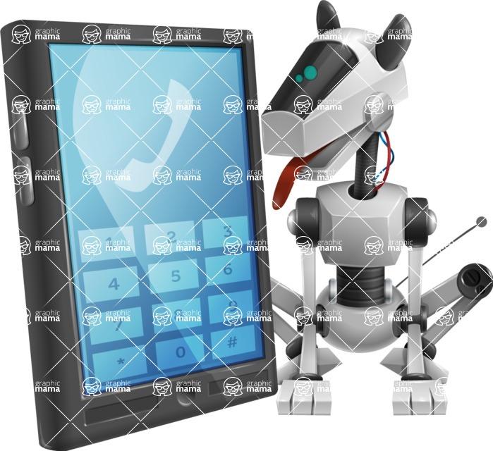 High-Tech Robot Dog Cartoon Vector Character AKA BARD - Phone