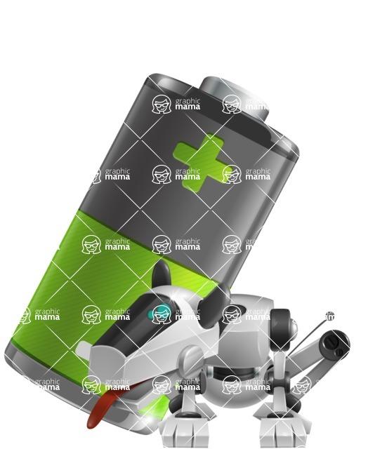 High-Tech Robot Dog Cartoon Vector Character AKA BARD - Battery