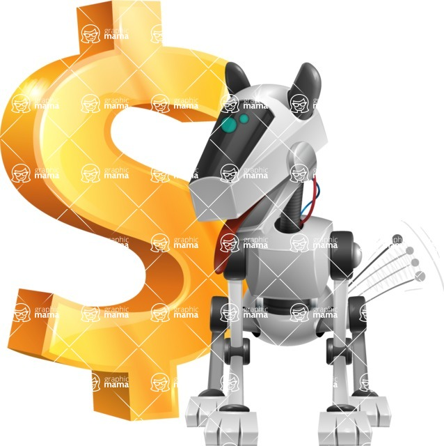 High-Tech Robot Dog Cartoon Vector Character AKA BARD - Dollar