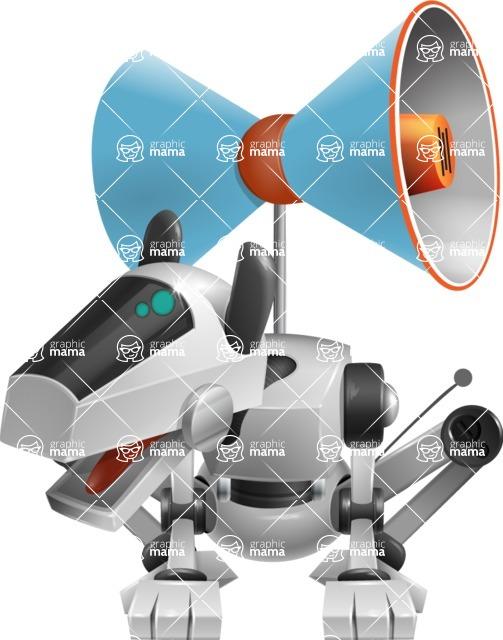 High-Tech Robot Dog Cartoon Vector Character AKA BARD - Loudspeaker