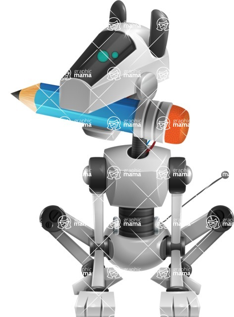 High-Tech Robot Dog Cartoon Vector Character AKA BARD - Pencil