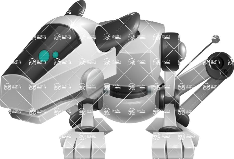 High-Tech Robot Dog Cartoon Vector Character AKA BARD - Sad