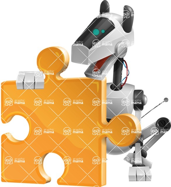 High-Tech Robot Dog Cartoon Vector Character AKA BARD - Puzzle