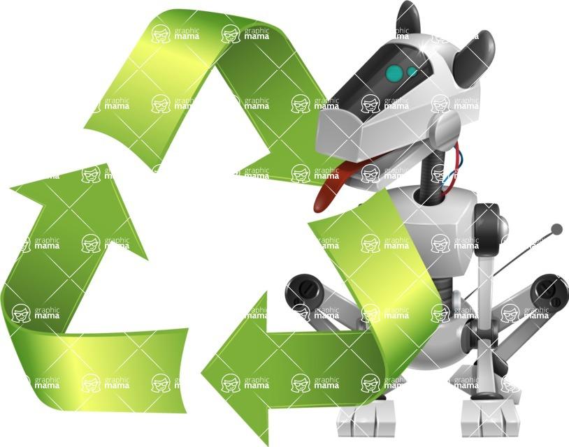 High-Tech Robot Dog Cartoon Vector Character AKA BARD - Recycling