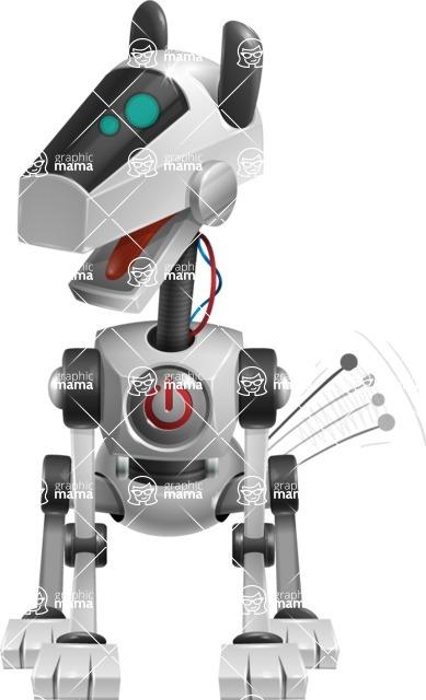 High-Tech Robot Dog Cartoon Vector Character AKA BARD - Power Button