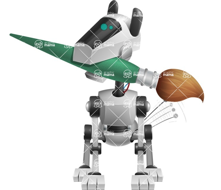 High-Tech Robot Dog Cartoon Vector Character AKA BARD - Artist