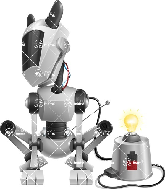 High-Tech Robot Dog Cartoon Vector Character AKA BARD - Charging