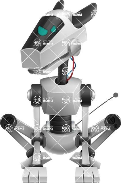 High-Tech Robot Dog Cartoon Vector Character AKA BARD - Angry